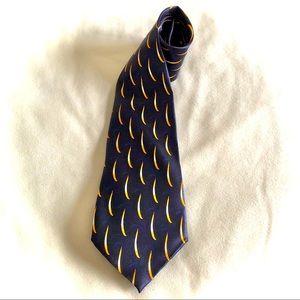 Davinci 100% Polyester Neck Tie Navy/Yellow